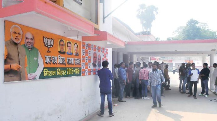 BJP state headquarter has been abuzz with activities since the party switched into election mode. (Image Source: Indian Express Photo by Prashant Ravi)