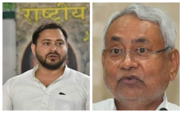 SEC hinted that Bihar Assembly election will be held on time. Opposition leader Tejashawi Yadav(L) and Chief Minister Nitish Kumar(R) will be main contender to take the helm of the state in the upcoming poll. (File Photo)