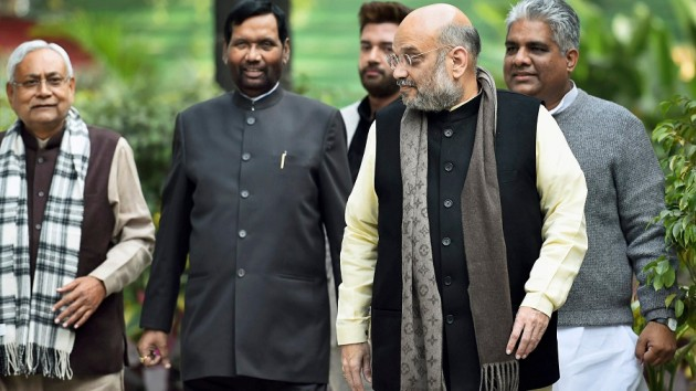 Chief Minister Nitish Kumar, Union Home Minister Amit Shah, Union Food Minister Ram Vilas Paswan, BJP Bihar in charge Bhupendra Yadav and LJP Chief Chirag Paswan ( File photo , Courtesy : The Telegraph/PTI)