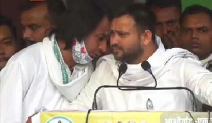 Grand Alliance chief ministerial candidate Tejashwi Yadav addressing a election rally for his brother Tej Pratap Yadav at Hasanpur in Vaishali district.