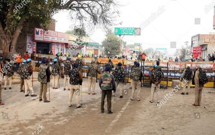 Police personnel manning barricades during Delhi Chalo Protest in Bhatinda (File Photo, Image credit: Shutterstock)