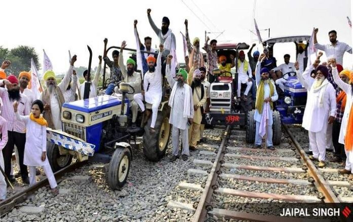 Farmers blocking railway tracks in protest against the farm laws (File Photo, Image credit: The Indian Express)