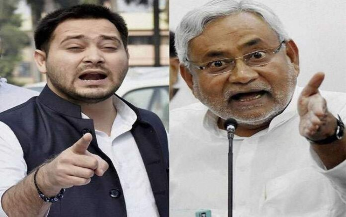 RJD Leader Tejashwi Yadav (L) and Bihar chief minister Nitish Kumar (File Photo, Image credit: Jagran.com)