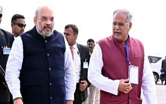 Union home minister Amit Shah and Chhattisgarh chief minister Bhupesh Baghel (Image credit: Desh TV)