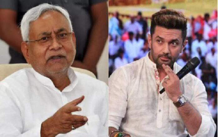 Bihar chief minister Nitish Kumar and LJP chief Chirag Paswan (R) (Image credit: TFIPOST)