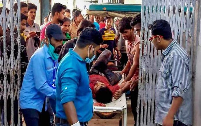 Injured persons being taken to hospital after clashes during the fourth phase of West Bengal assembly elections, in Cooch Behar district (Image credit: The Week)