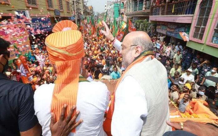 Union home minister Amit Shah during a road-show in Singur on April 7 (Image credit: The Week)