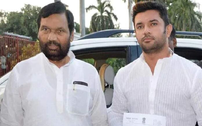 File photo of Chirag Paswan with his late father Ram Vilas Paswan (Image credit: NDTV)