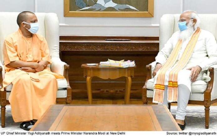 UP chief minister Yogi Adityanath meeting Prime Minister Narendra Modi earlier on Friday (Image credit: The Daily Voice)