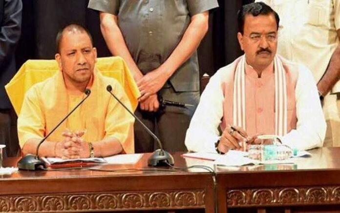 Uttar Pradesh chief minister Yogi Adityanath and deputy chief minister Keshav Prasad Maurya (Image credit: India TV)
